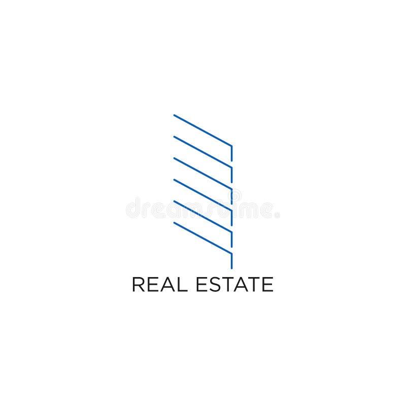 Real Estate-Logo, Gebäude oder Haus, Entwurfs-Vektor mit Linie, lineares, Art oder Monolinie vektor abbildung