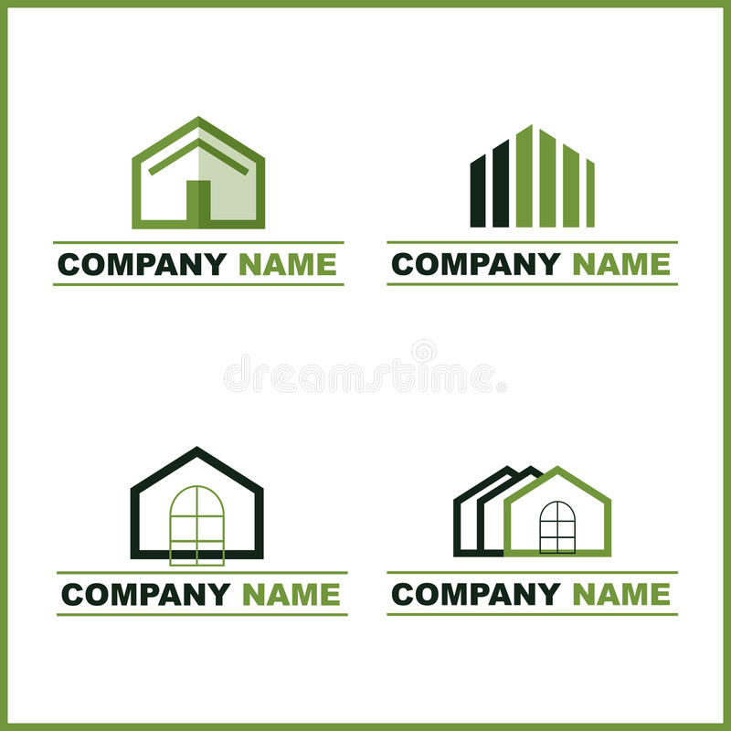 Real estate logo - green. Set of four real estate logo for your company isolated on white. EPS file available
