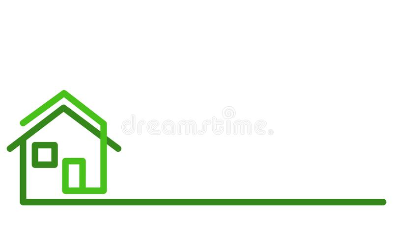Real Estate Logo, green house on white, stock vector illustration royalty free illustration