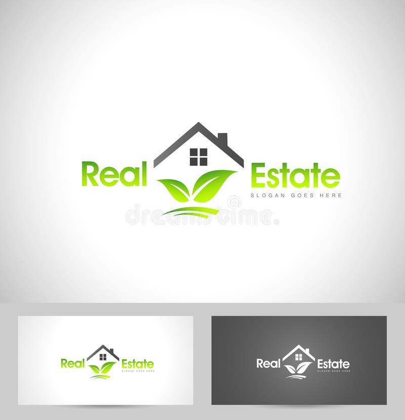 Real Estate Logo Leaf illustrazione vettoriale