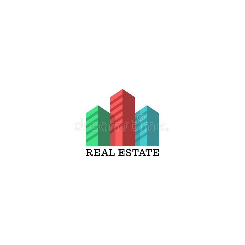 Real estate logo mockup, colored silhouettes of skyscrapers emblem for apartments, residential complex, housing, urban district, stock illustration