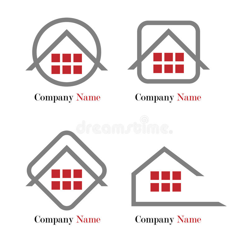 Real estate logo - red and grey stock illustration