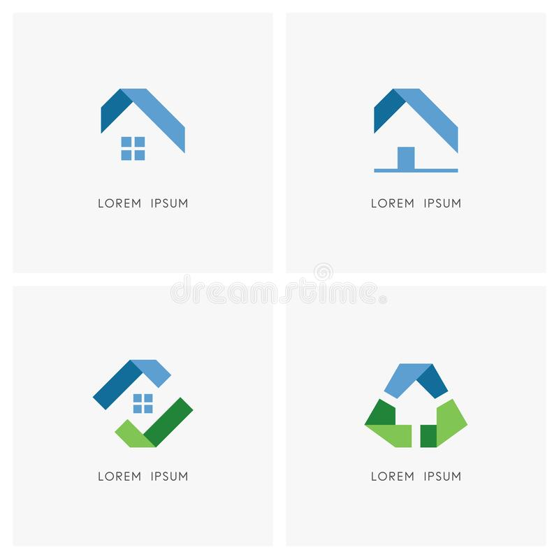 Real Estate Logo Set stock illustrationer