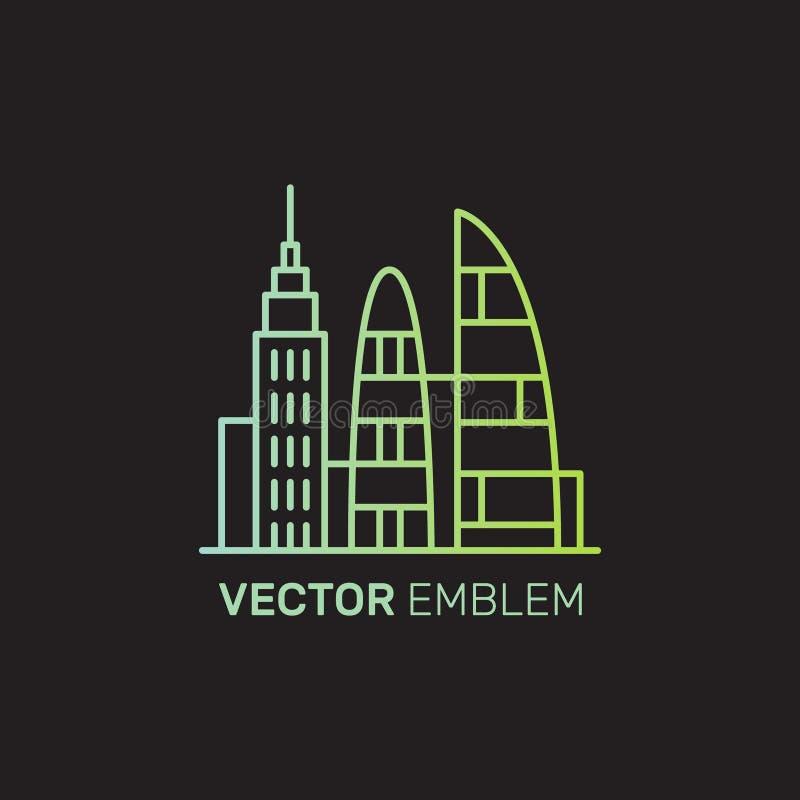 Real Estate Logo Set, idérikt hus Logo Collection, abstrakta byggnader, skyskrapaområde, hyra stock illustrationer