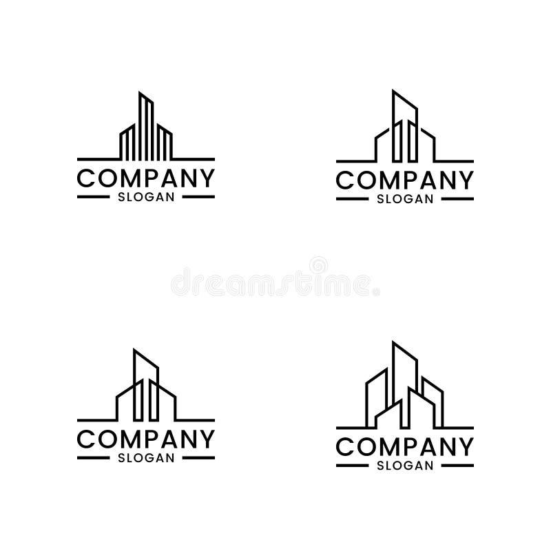 Real Estate Logo Set Monokrom huslogo royaltyfri illustrationer
