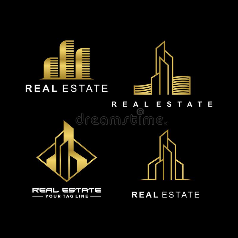Real estate logo template collection set. Luxury style vector illustration. stock illustration
