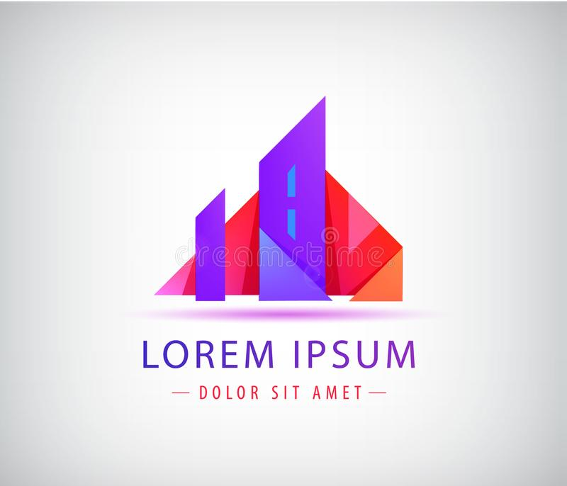 Real estate logo template. Origami city concept, building. With towers icon stock illustration