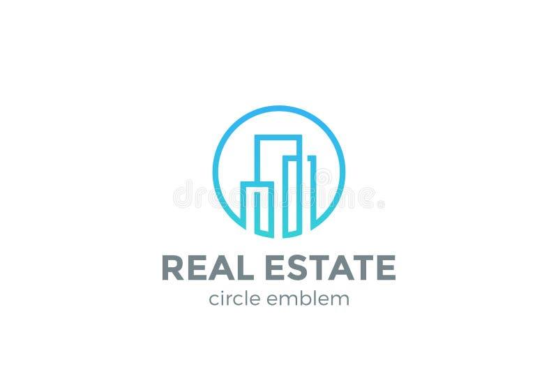 Real Estate-Logodesign-Vektor lineares Gebäude vektor abbildung