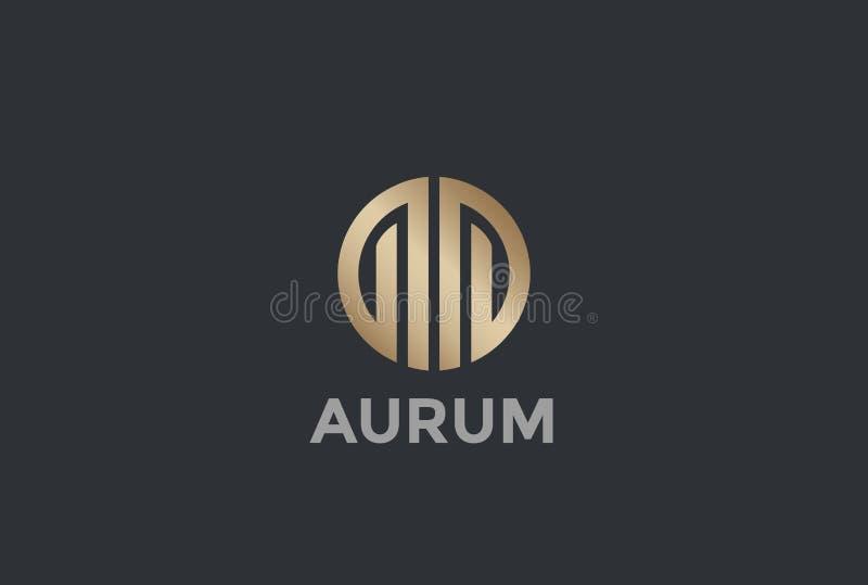 Real Estate-Logodesignvektor Kreis-Luxus stock abbildung