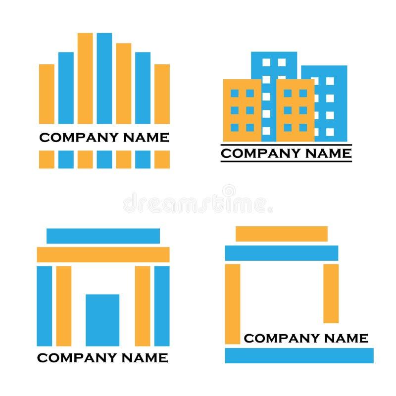 Real estate logos - blue and orange vector illustration