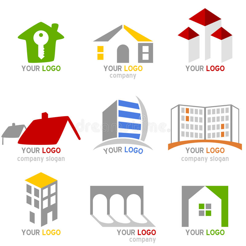 Real Estate Logos Set royalty free illustration
