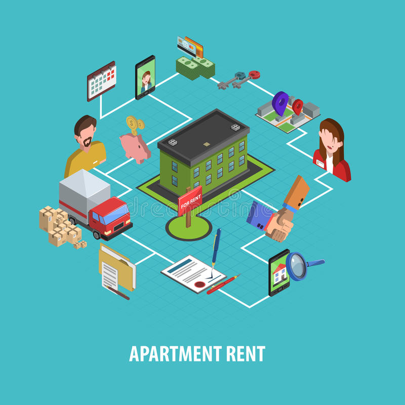 Real Estate louent le concept illustration stock