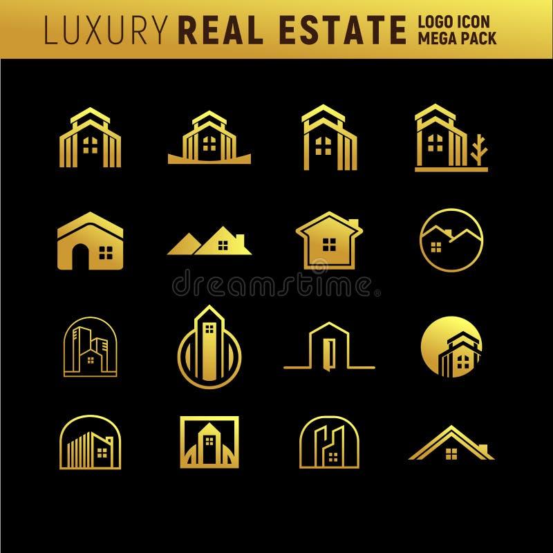 Real Estate luxuoso Logo Mega Pack ilustração do vetor
