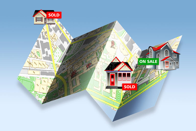 Real Estate Map of Homes for Sale. Homes for sale and sold on a folding map