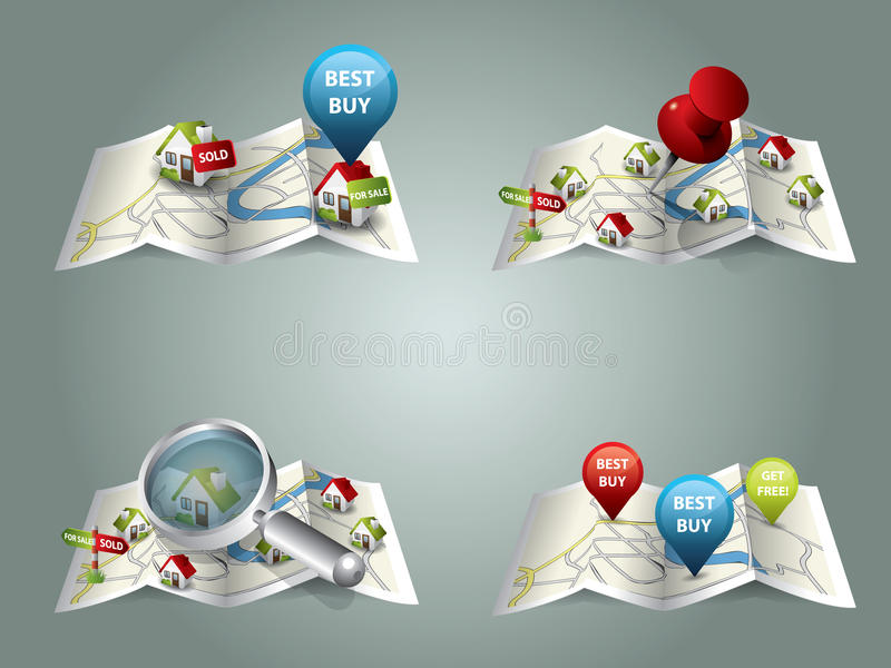 Real estate maps royalty free illustration