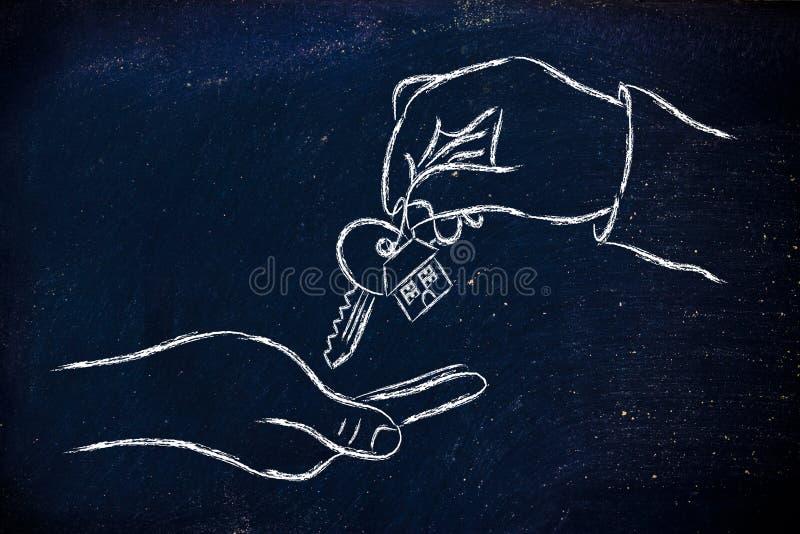 Real Estate Market,  Hands Giving House Key Stock Illustration