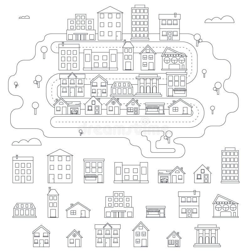 Real Estate miasta budynku domu ulica Liniowa ilustracja wektor