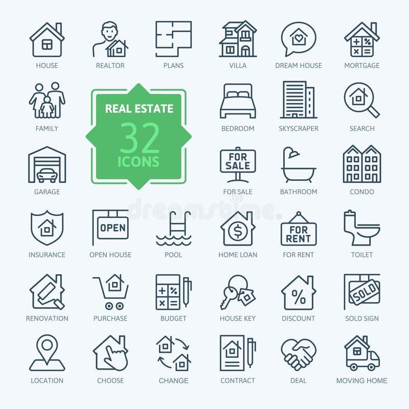 Real Estate - minimalny cienieje kreskowego sieci ikony set Kontur ikony inkasowe ilustracja wektor