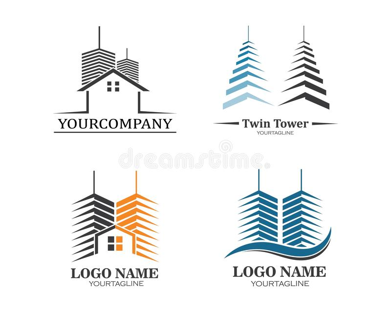 real estate modern city building vector template stock illustration