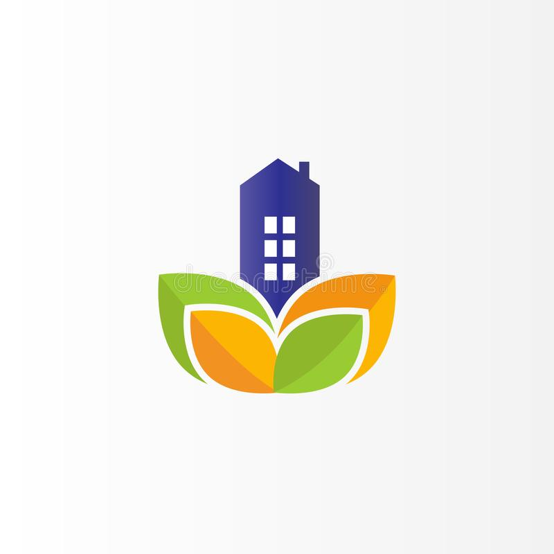 Real Estate moderno Logo Design Logotipo plano con la hoja libre illustration