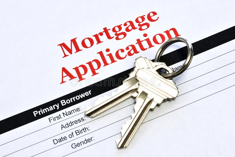 Real Estate Mortgage Application With House Keys royalty free stock images