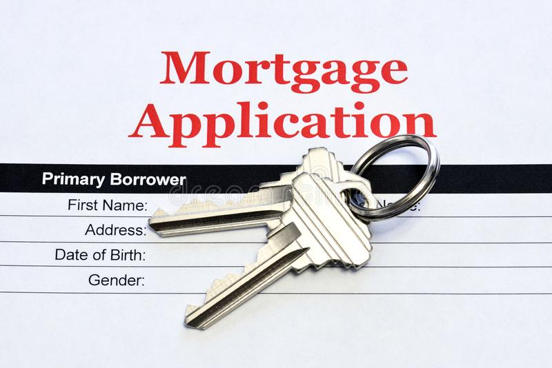 Real Estate Mortgage Application With House Keys stock images