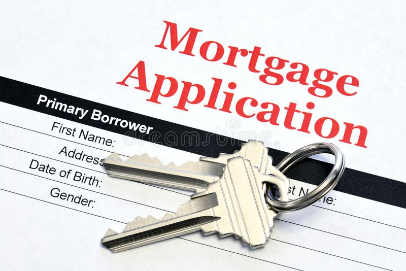 Real Estate Mortgage Application With House Keys royalty free stock photo