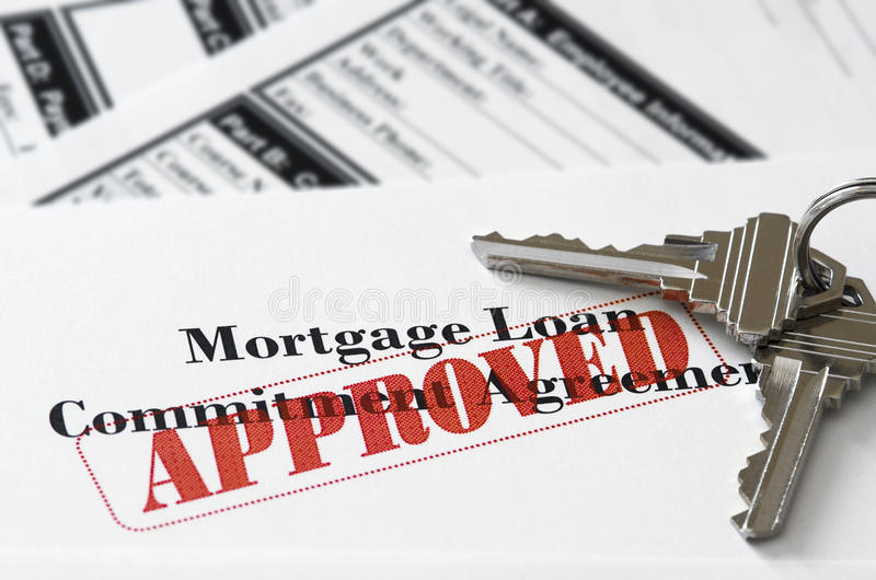 Real Estate Mortgage Approved Loan Document stock photos