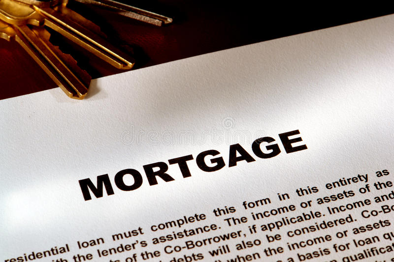 Real Estate Mortgage Document and Keys royalty free stock photo
