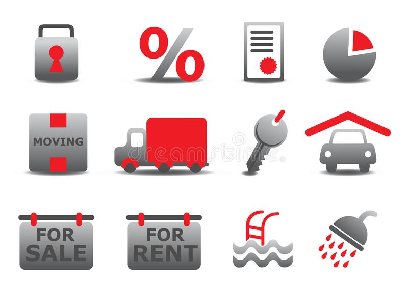 Real estate and moving icons se stock photo