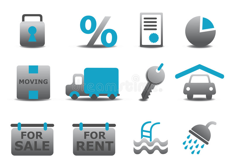 Real estate and moving icons se vector illustration