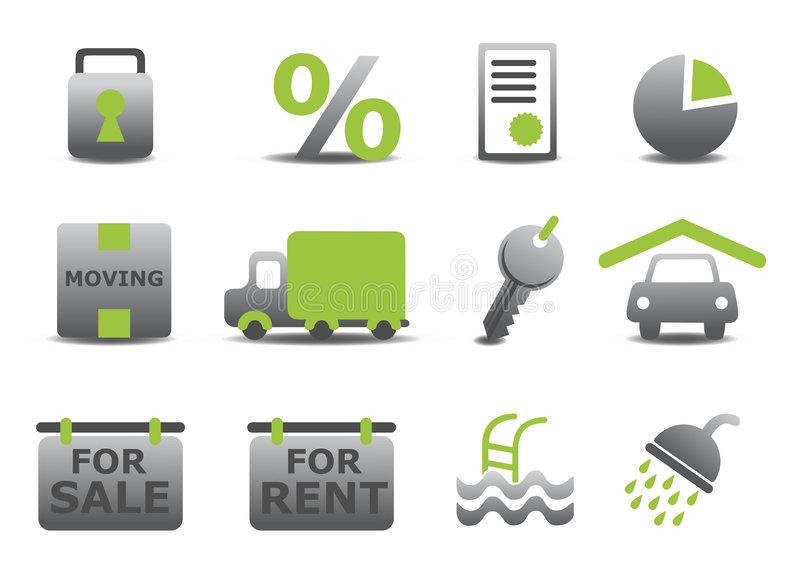 Real estate and moving icons set vector illustration