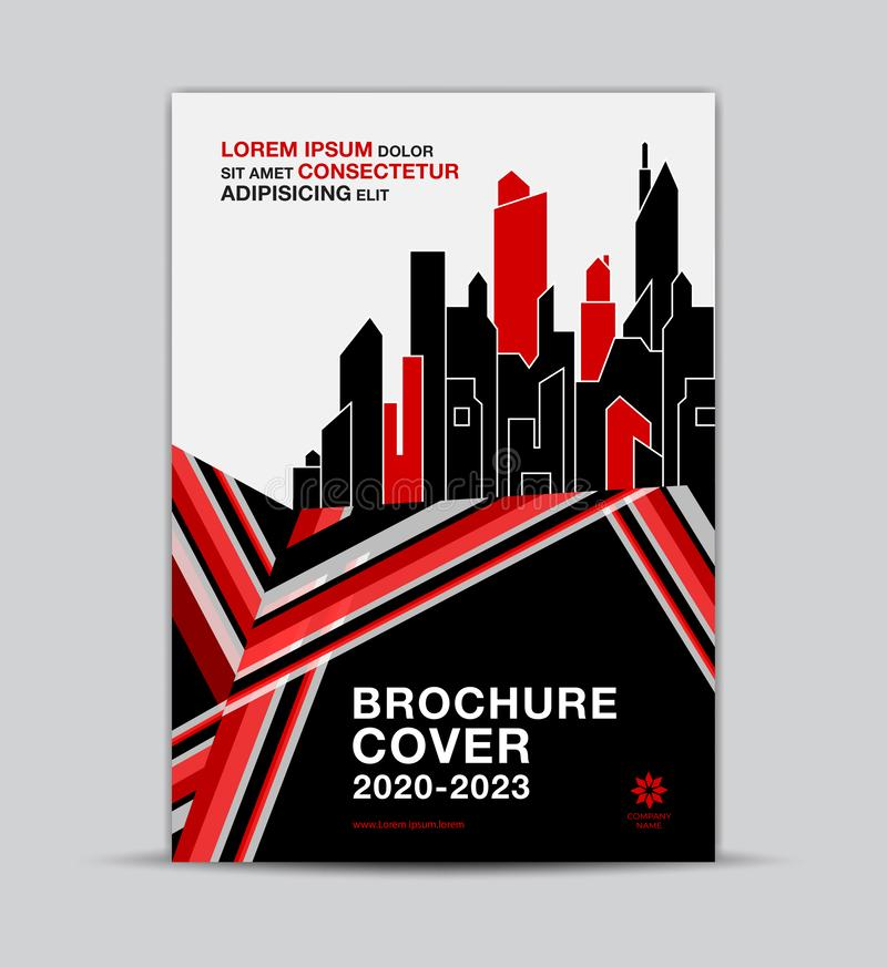 Real estate Multi-color Brochure Cover template, flyer layout, annual report cover, modern concept design, red and black backgroun stock illustration