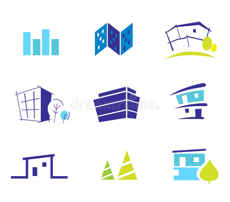 Real estate, nature and architecture icons stock illustration