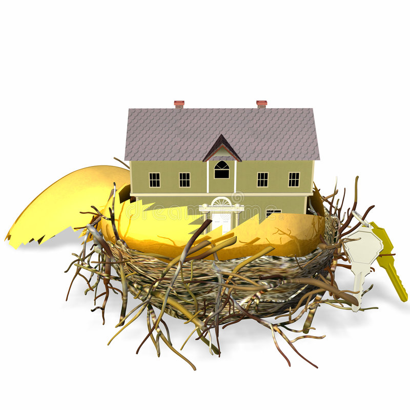Real Estate Nest Egg. Large golden hatched egg sitting in a nest with a brand new house and set of keys