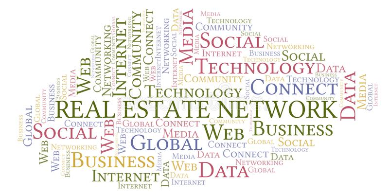 Real Estate Network word cloud. Wordcloud made with text only royalty free illustration