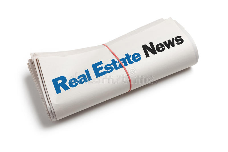 Real Estate News. Newspaper roll with white background