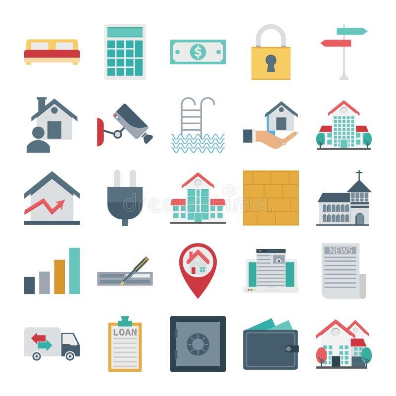 Real Estate odizolowywał Wektorowe ikony bardzo modne dla nieruchomości i własność Składać się z z łóżkiem, kalkulator, kędziorek ilustracja wektor
