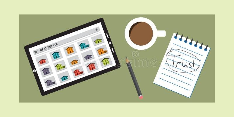 Real Estate-Onderzoeksapp de Gebruikers kunnen vertrouwen op vector illustratie