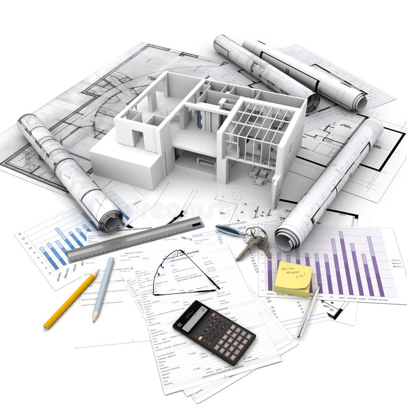 Real Estate operation. Office building with open interior on top of blueprints, documents and mortgage calculations