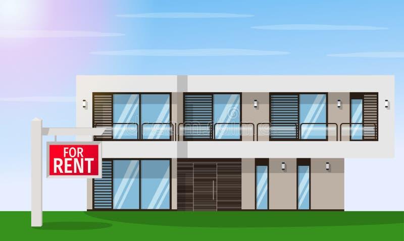 Real Estate per affitto La casa e firma dentro la priorità alta con le informazioni Illustrazione piana di progettazione di vetto illustrazione vettoriale