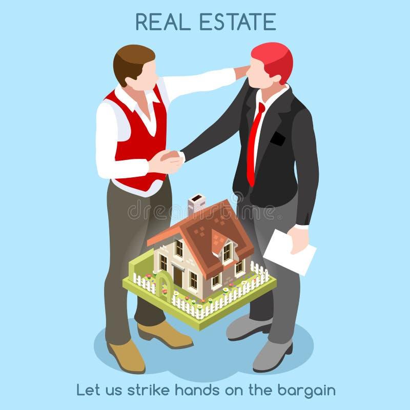 Real Estate 01 personas isométricas libre illustration