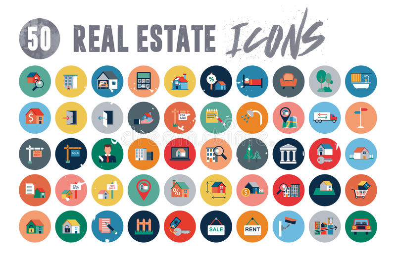 50 Real Estate-Pictogrammen stock illustratie