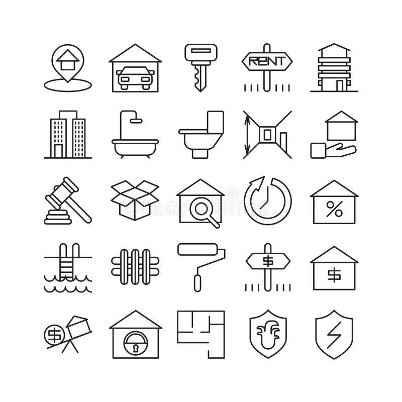 Real Estate-pictogrammen vector illustratie