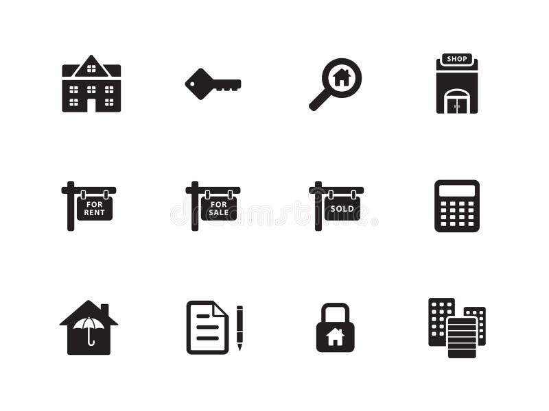 Real Estate-pictogrammen op witte achtergrond. royalty-vrije illustratie