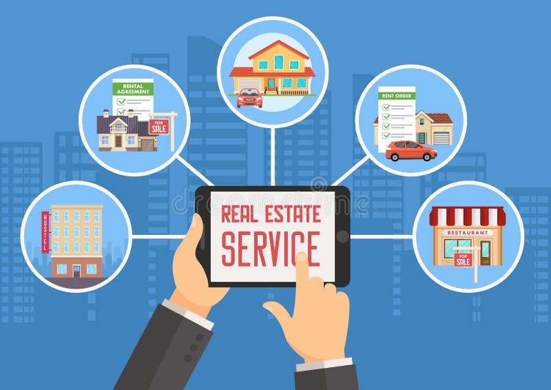 Real Estate presta serviços de manutenção Ilustração lisa do vetor ilustração royalty free