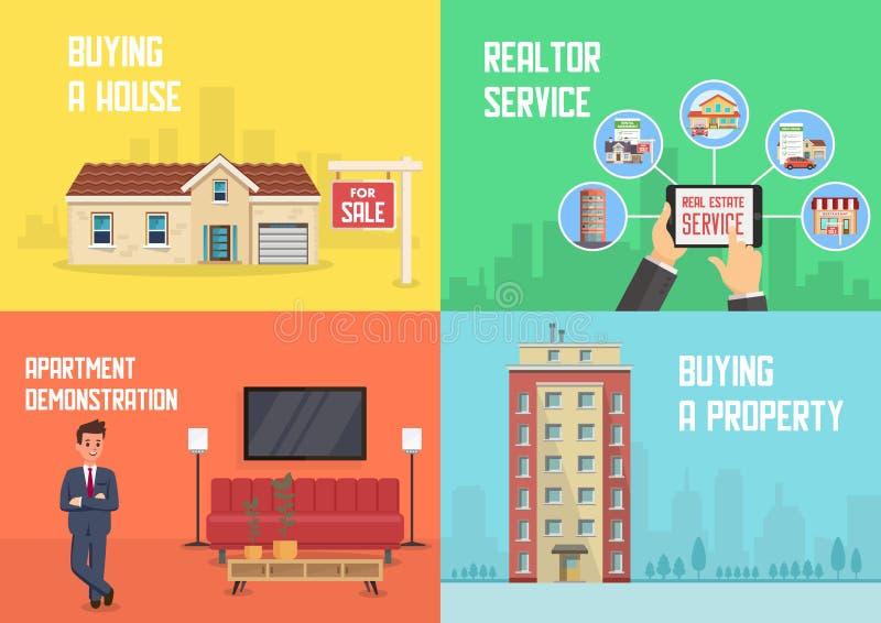 Real Estate presta serviços de manutenção Ilustração lisa do vetor ilustração do vetor