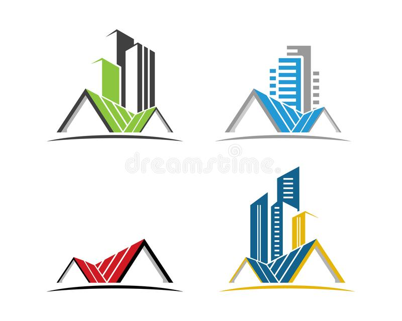 Real Estate , Property and Construction Logo design for business corporate sign. For financial business insurance abstract royalty free illustration