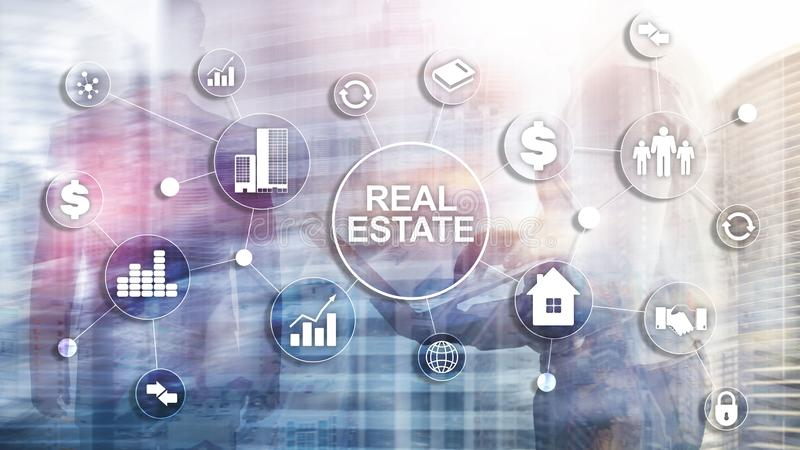 Real estate. Property insurance and security concept. Abstract business background. stock illustration