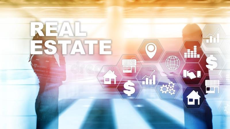 Real estate. Property insurance and security concept. Abstract business background. royalty free illustration